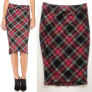Free People Lady Macbeth Plaid Pencil Skirt